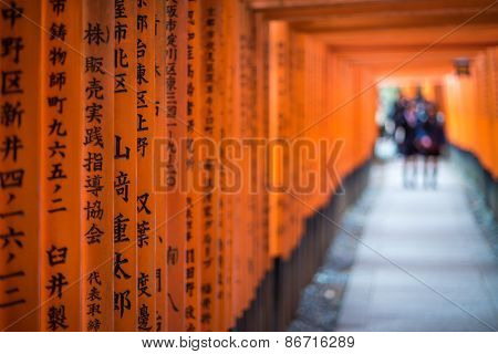 Red Torii Of Fushimi Inari Shrine, Kyoto, Japan