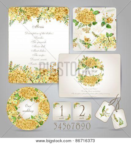 Set Of Templates For Celebration, Wedding. Yellow Flowers.