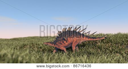 kentrosaurus walking in grass field