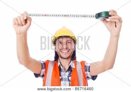 Foreman with tape-measure isolated on white