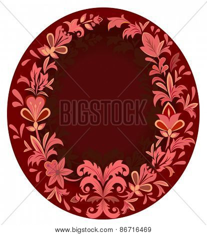 Beautiful vertical oval purple floral frame.