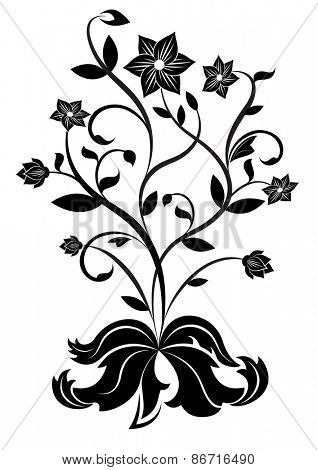 Black and white flower design element.