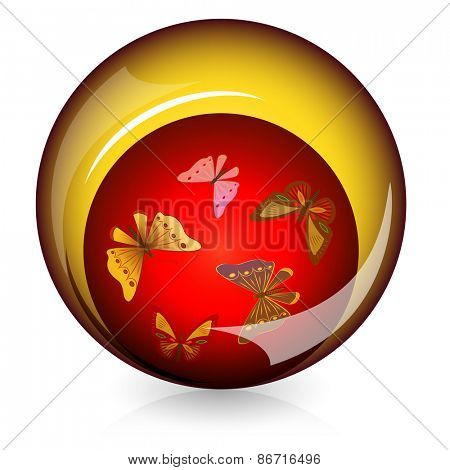 Spherical glossy button with butterflies inside.