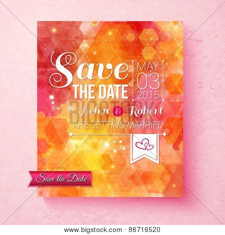 Colorful vibrant Save The Date wedding invitation