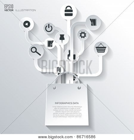 Shopping bag icon. Icon tree. Flat abstract background with web icons. Interface symbols. Cloud comp