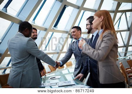 Business partners handshaking upon striking deal in office