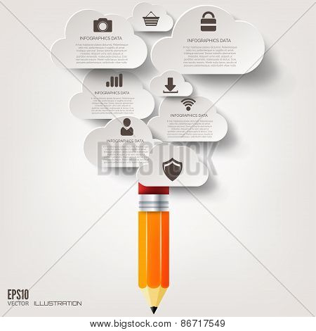 Pencil icon. Flat abstract background with web icons. Interface symbols. Cloud computing. Mobile dev