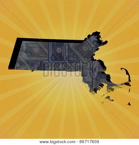 Massachusetts map on dollars sunburst illustration
