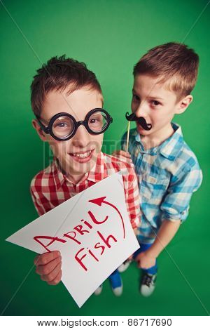 Funny boys celebrating April fool�¢??s day