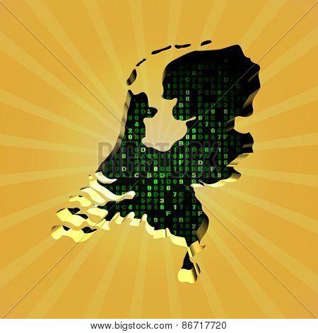 Netherlands sunburst map with hex code illustration
