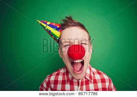 Little boy screaming at fool�¢??s day celebration