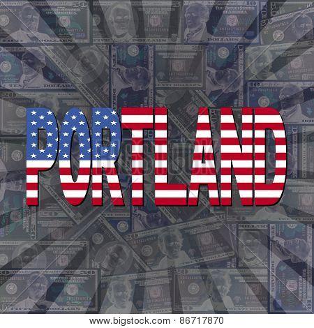 Portland flag text on dollars sunburst illustration