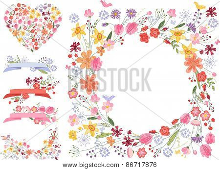 Summer flowers - frame, heart and decorative elements on white