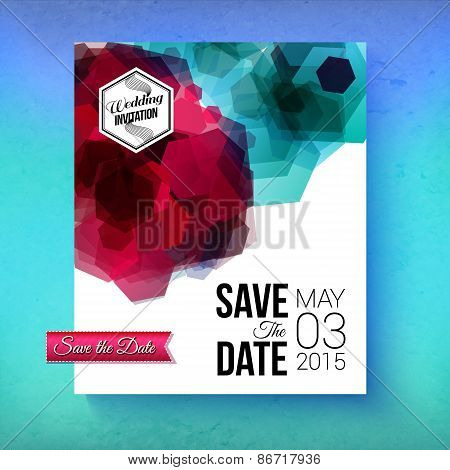 Artistic romantic Save The Date wedding template