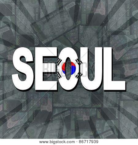 Seoul flag text on Won sunburst illustration