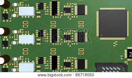 Pcb Green With Resistors, Capacitors, Connectors And Chip