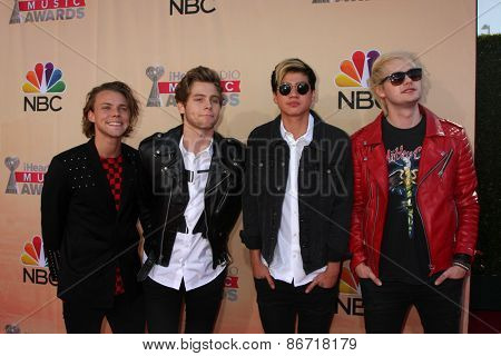 LOS ANGELES - MAR 29:  5 Seconds of Summer at the 2015 iHeartRadio Music Awards at the Shrine Auditorium on March 29, 2015 in Los Angeles, CA