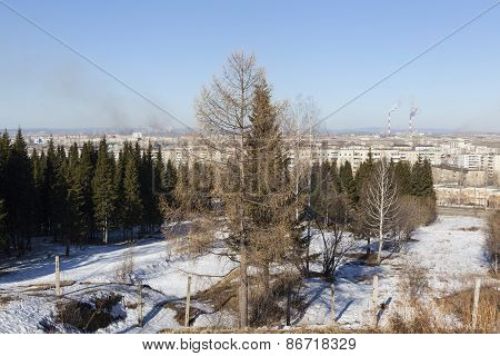 Landscape with fir mountains. Nizhny Tagil. Russia.