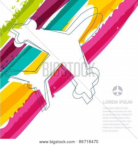 Flight Airplane Silhouette And Rainbow Stripes Watercolor Background With Place For Text. Concept Fo