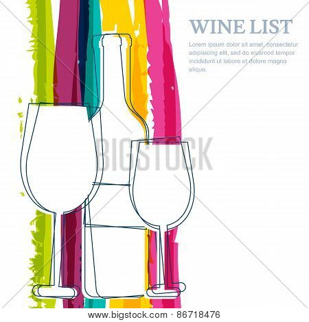 Wine Bottle, Glass Silhouette And Rainbow Stripes Watercolor Background With Place For Text. Abstrac