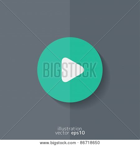 Media play icon. Start music symbol. Flat design.