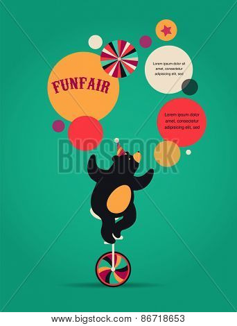 vintage hipster circus poster, background with cute bear, fun fair, and speech bubbles