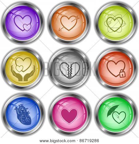 Heart shape set. Raster internet buttons.