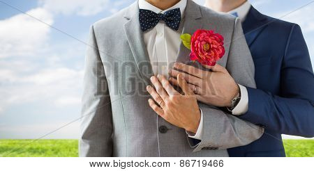 people, homosexuality, same-sex marriage and love concept - close up of happy married male gay couple in suits with buttonholes and bow-ties on wedding over blue sky and grass background