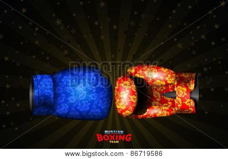 Boxing gloves  Russian traditional ornament from flowers, Gzhel. Template of championship posters da