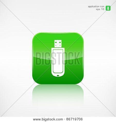 Usb flash drivo web icon. Application button.