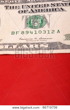 American Dollars On American Flag
