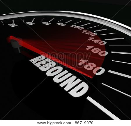 Rebound word on a speedometer to illustrate a triumphant return or victory after a difficult challenge, defeat or difficulty