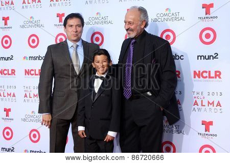 LOS ANGELES - SEP 27:  Benito Martinez, Luke Ganalon, Castulo Guerra at the 2013 ALMA Awards - Arrivals at Pasadena Civic Auditorium on September 27, 2013 in Pasadena, CA