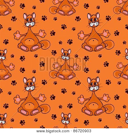 Seamless Pattern With Red Cat