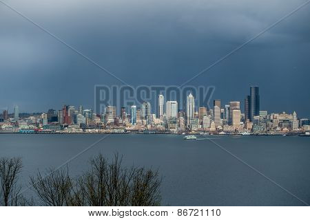 Seattle Cityscape With Ferry