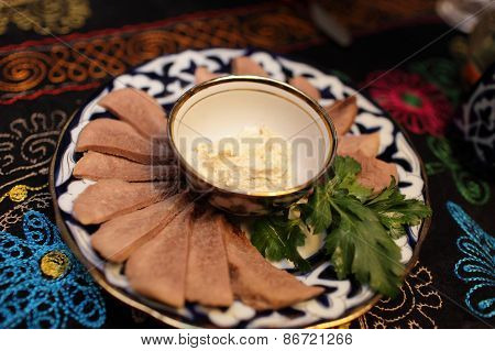 Plate With Sliced Veal Tongue