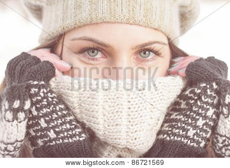 Winter Portrait Of Female With Beautiful Blue Eyes