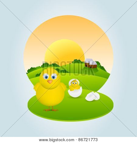 Happy Easter celebration with illustration of cute chicks and one of them coming out from egg in morning view.