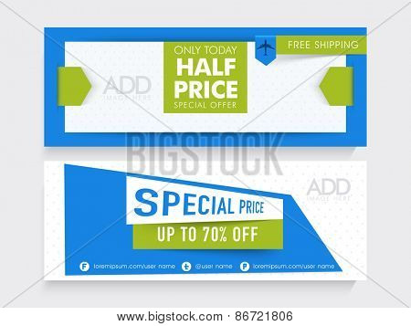 Stylish Sale website header or banner set with place holders for image.