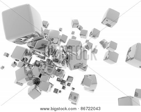 3D illustration of abstract with various metallic cubes
