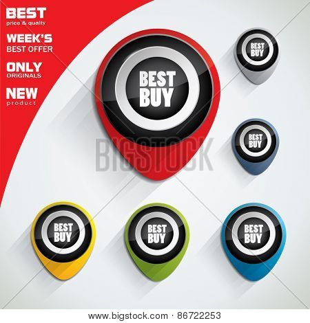 Best price, best buy colorful bubble or tag set with oval shape and promotional text in center