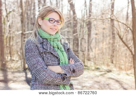 Happy Young Caucasian Woman Portrait Outdoor