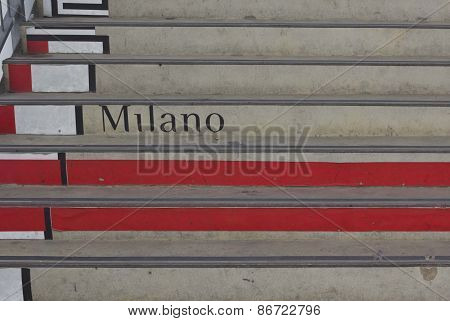 Comune Di Milano Logo Painted On The Stairs