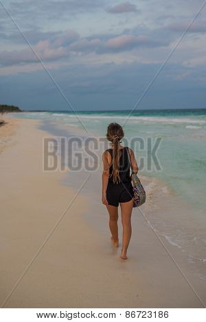 Young Girl Walking Beaches Of Tulum. Caribbean Paradise,