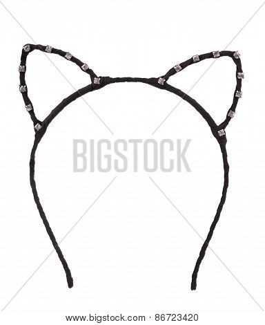 Cat ears shaped hair hoop isolated on white