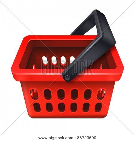 Red shopping basket icon 10eps
