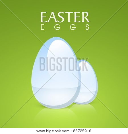 Happy Easter celebration greeting card with shiny eggs on glossy green background.