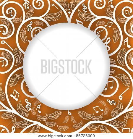 Blank rounded frame on musical seamless background.