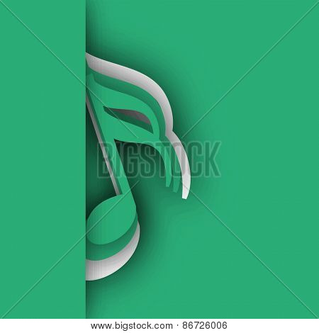 Musical notes on stylish sea green color background.
