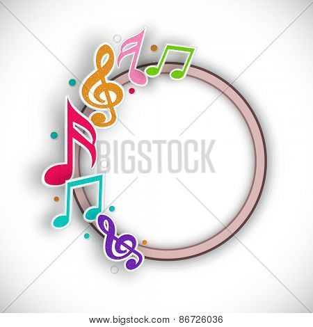 Musical notes with rounded frame on stylish background.